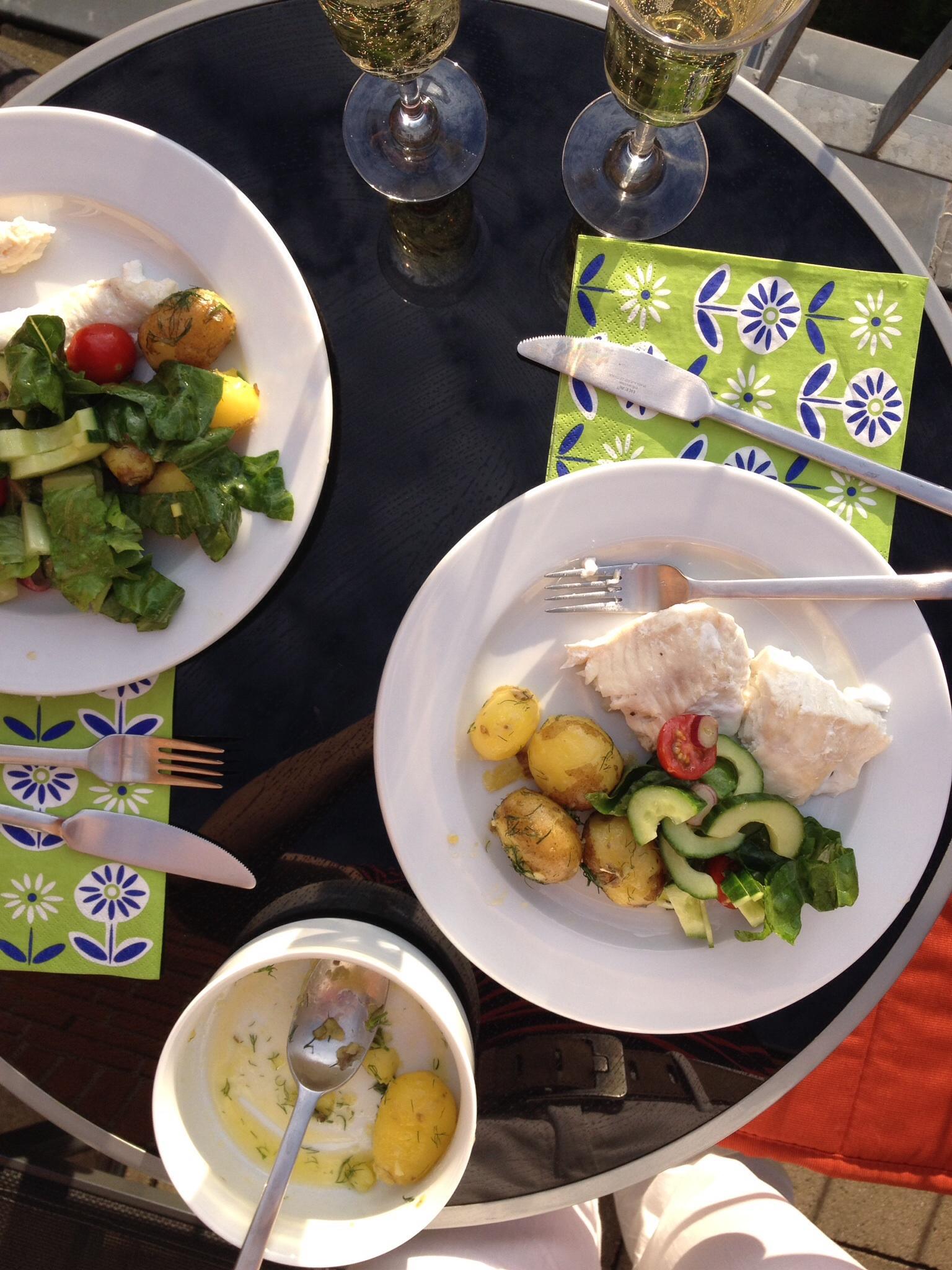 Steinbeißer mit Dillkartoffeln und Salat
