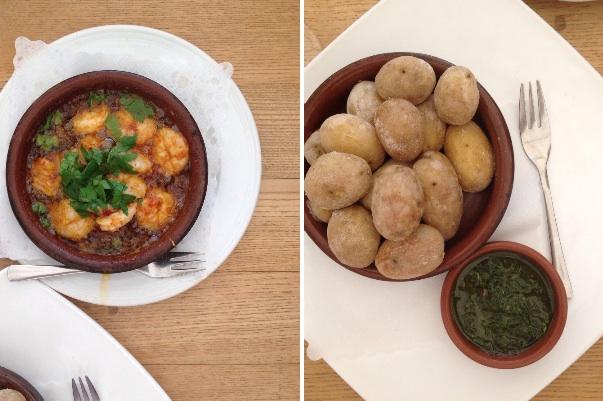 Scampi in Olivenöl und Kanarische Kartoffeln