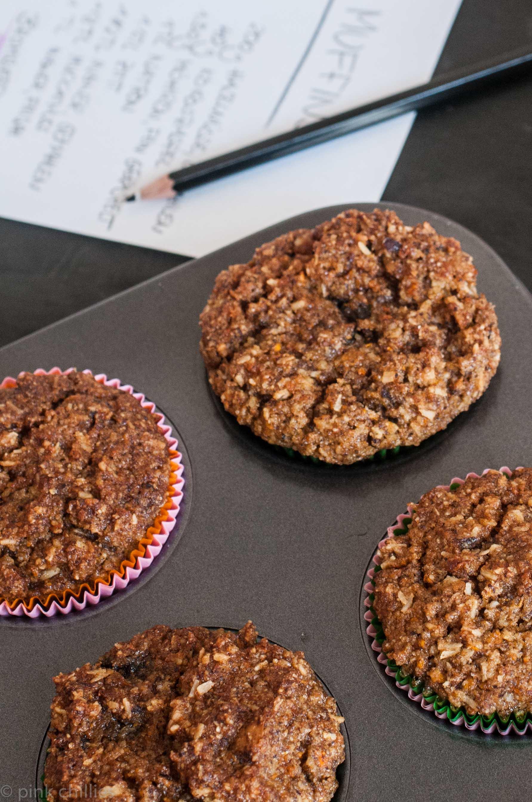 milchfreie Kokosnuss Möhren Brombeer Muffins