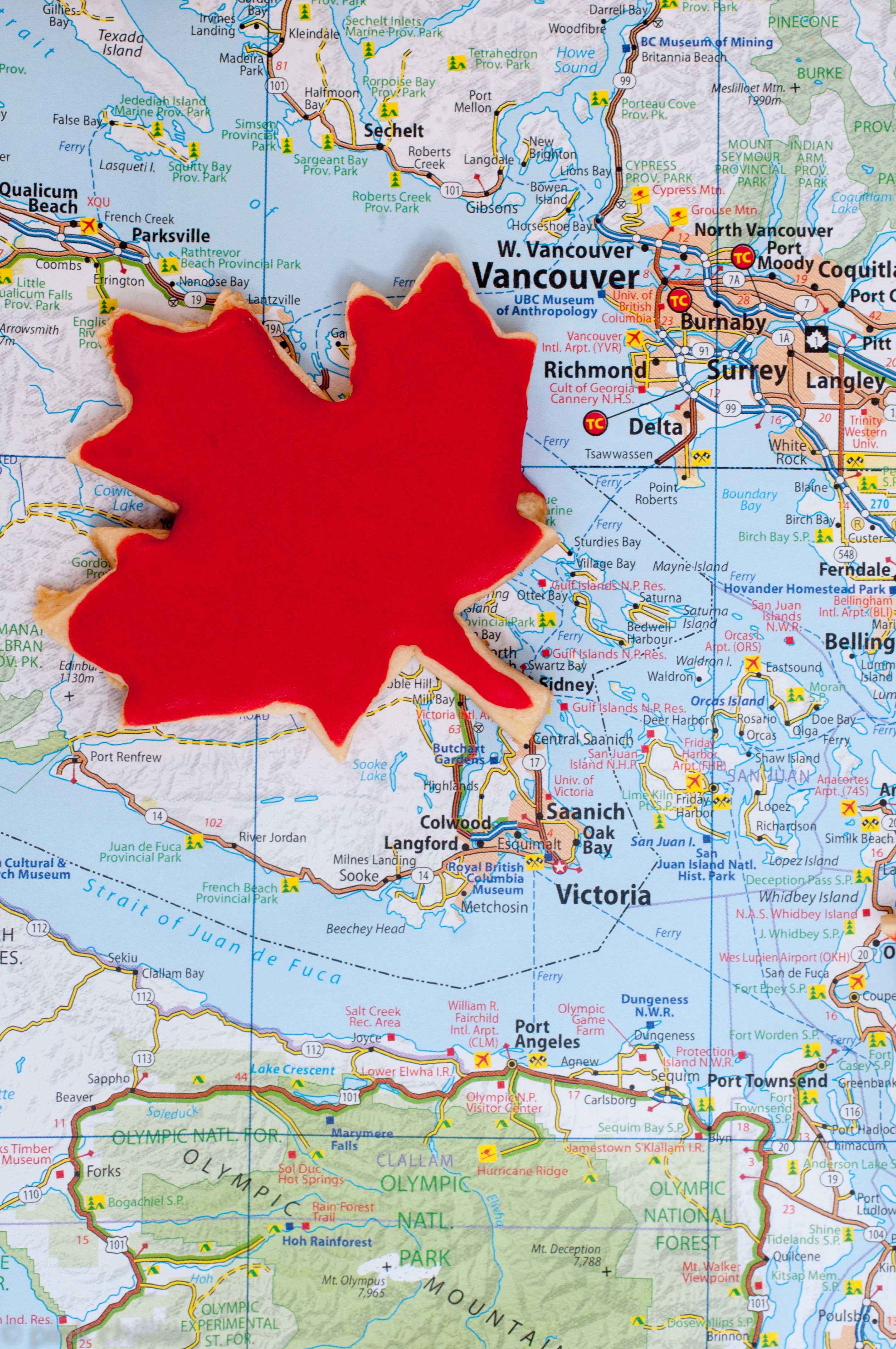 glutenfreie Mürbeteigplätzchen Kanada Ahornblatt