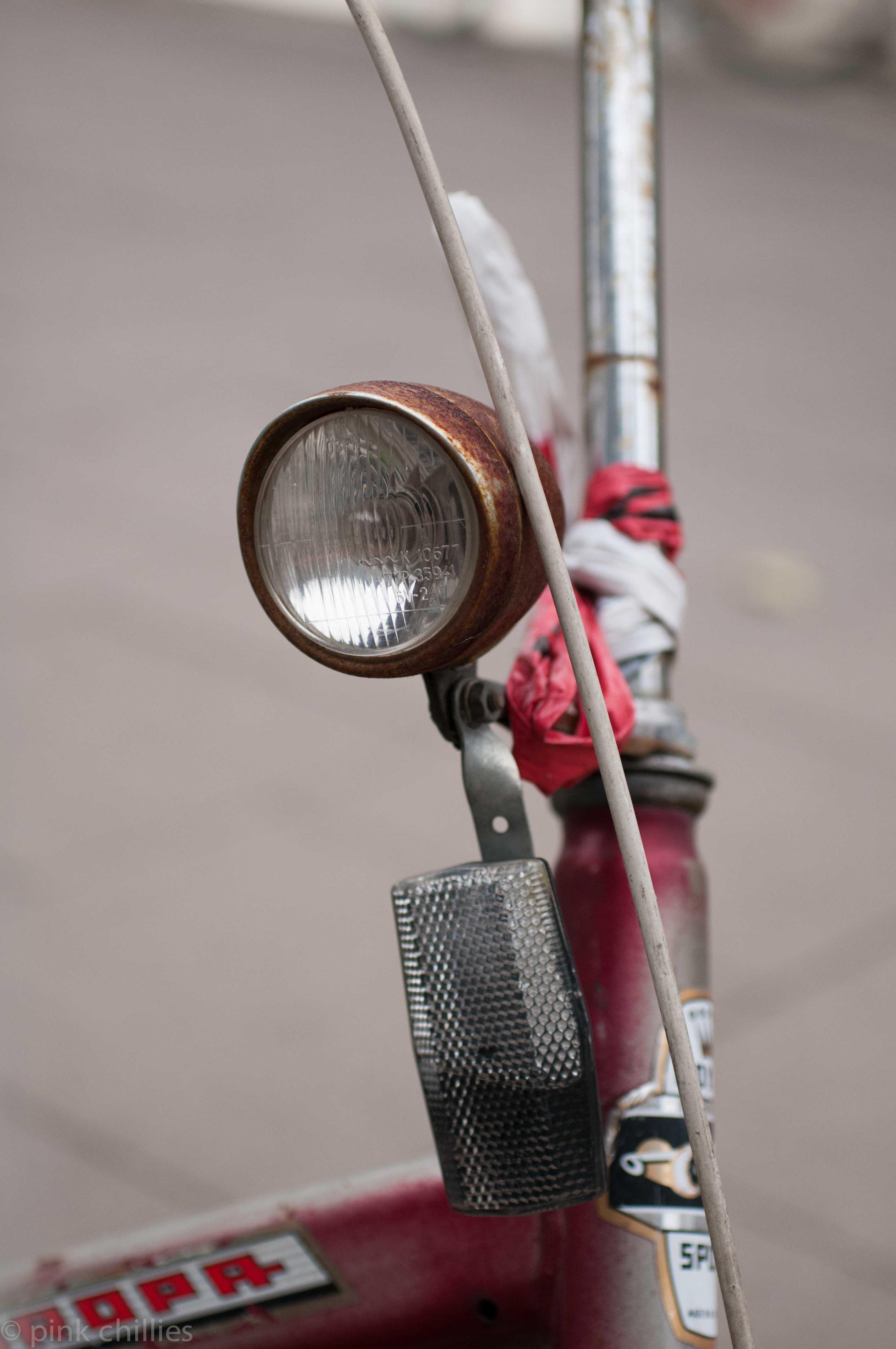 Fahrradlampe am Klapprad