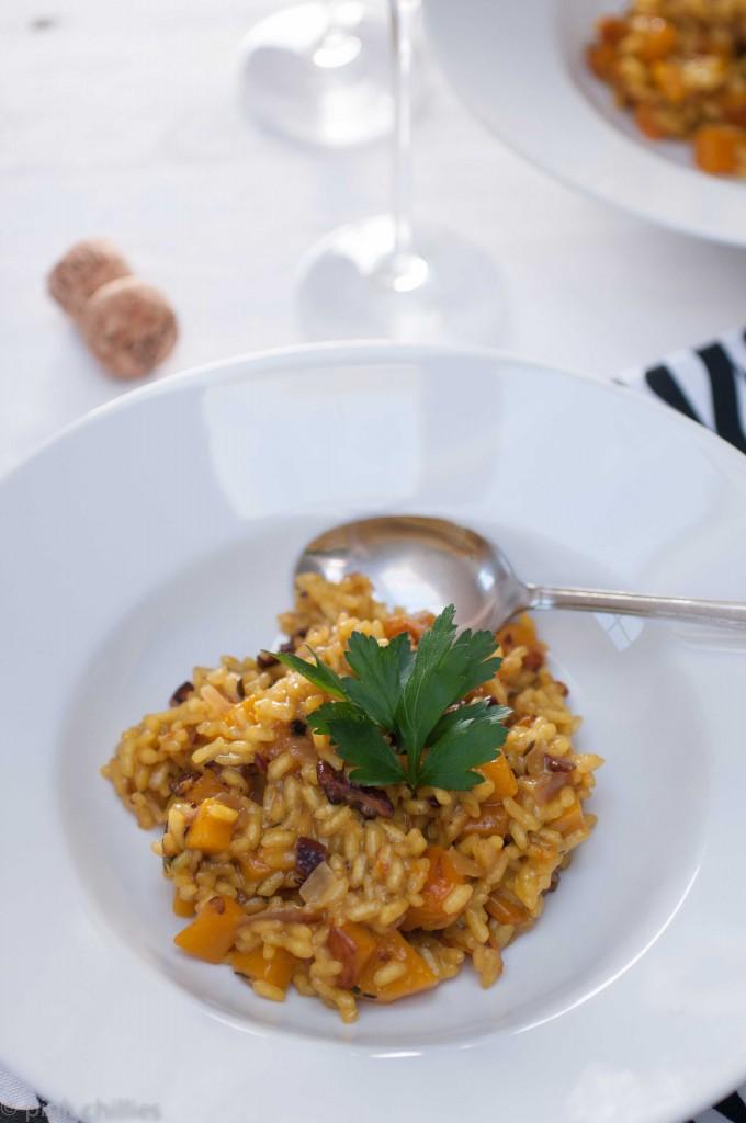fÜRST VON METTERNICH MIT Veganes Kürbisrisotto mit karamelisierten Pecannüssen