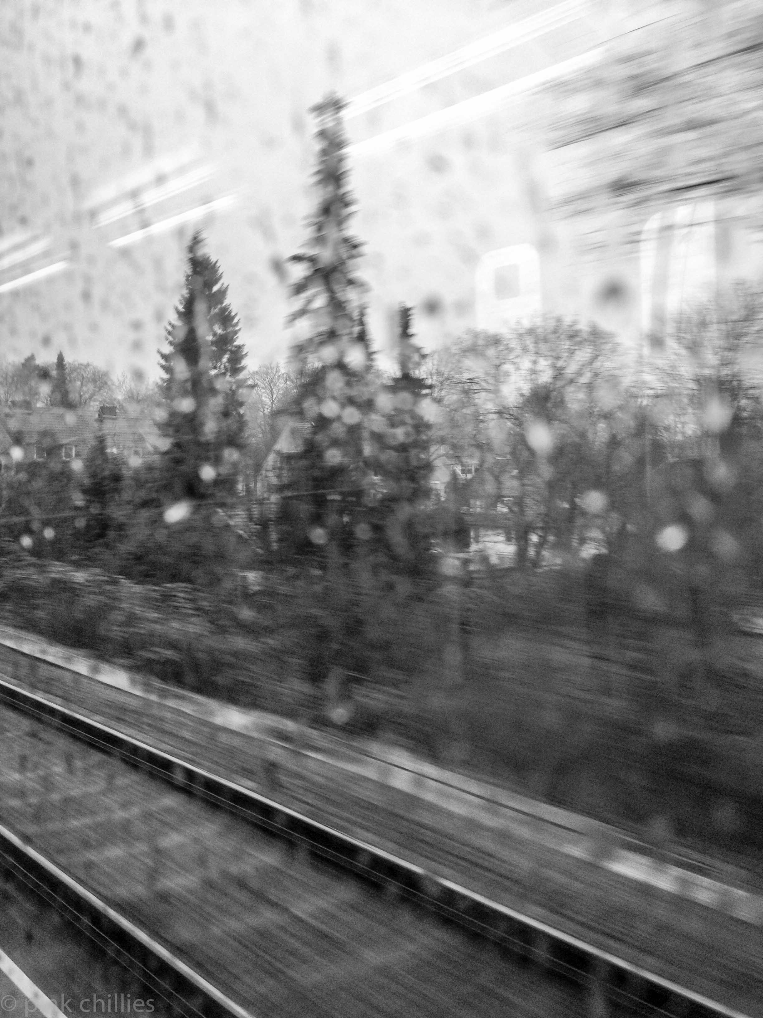 Bahnfahrt im Regen