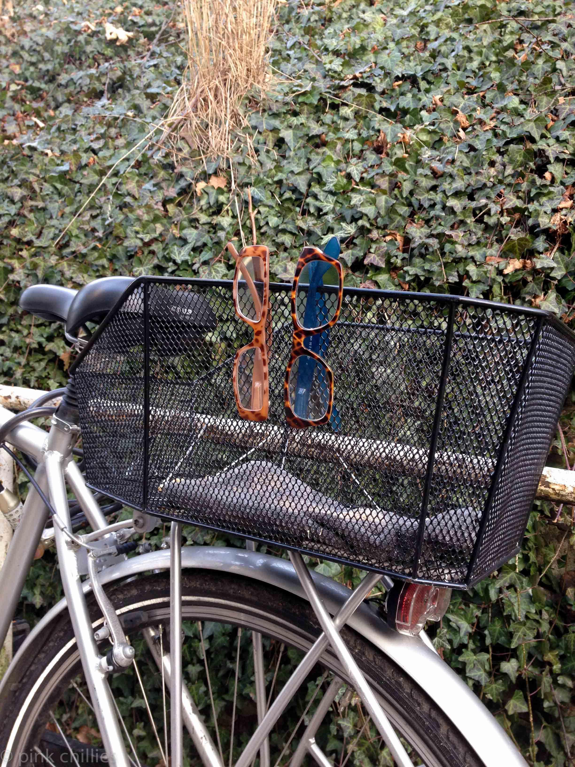 Lesebrillen am Fahrradkorb