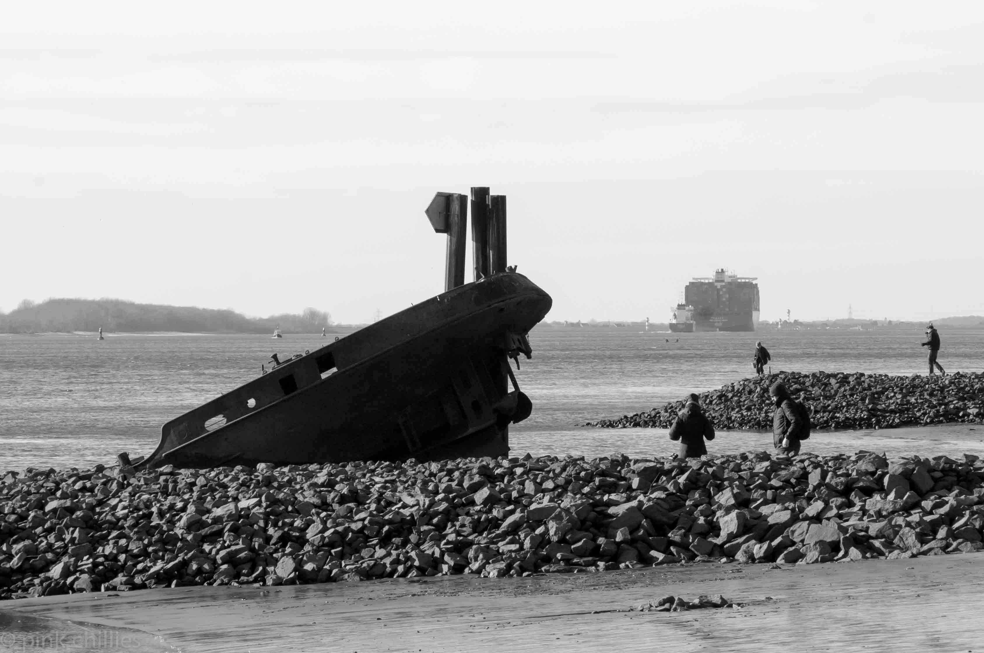 gesunkenes Schiff an der Elbe