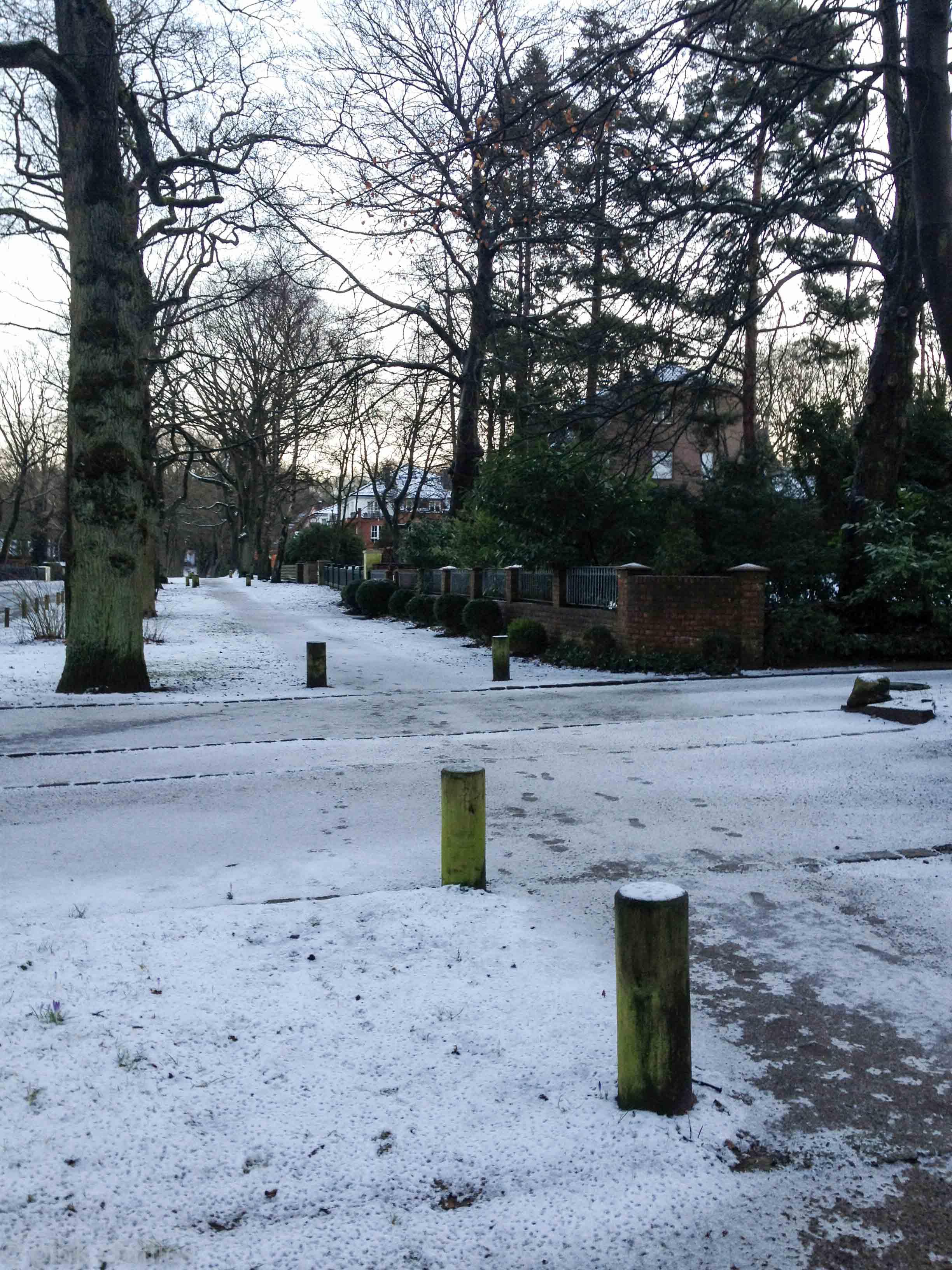 leichter Schnee im März in Hamburg