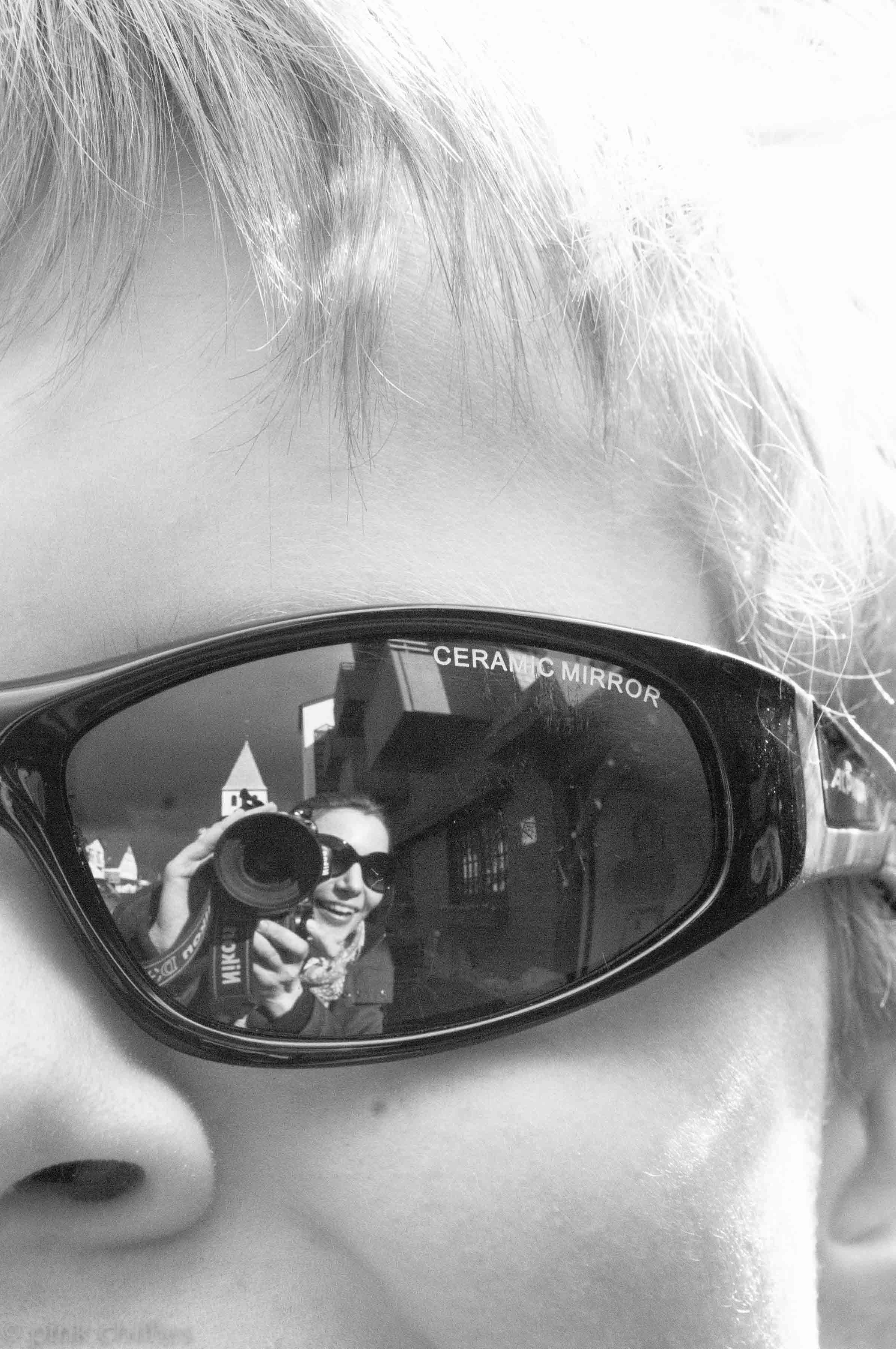 Spielgelung in Brille