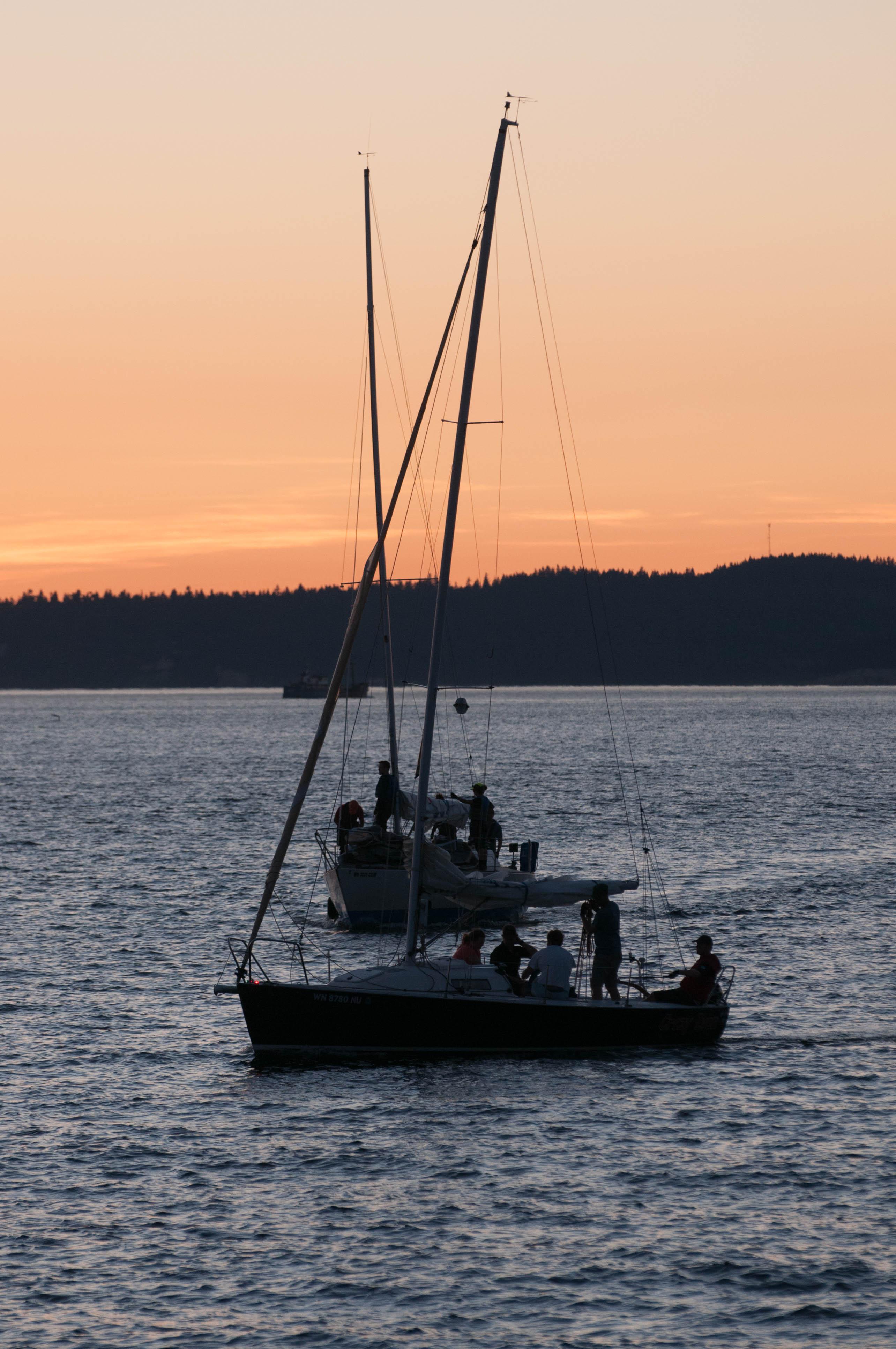 Sail boat Seattle Sunset