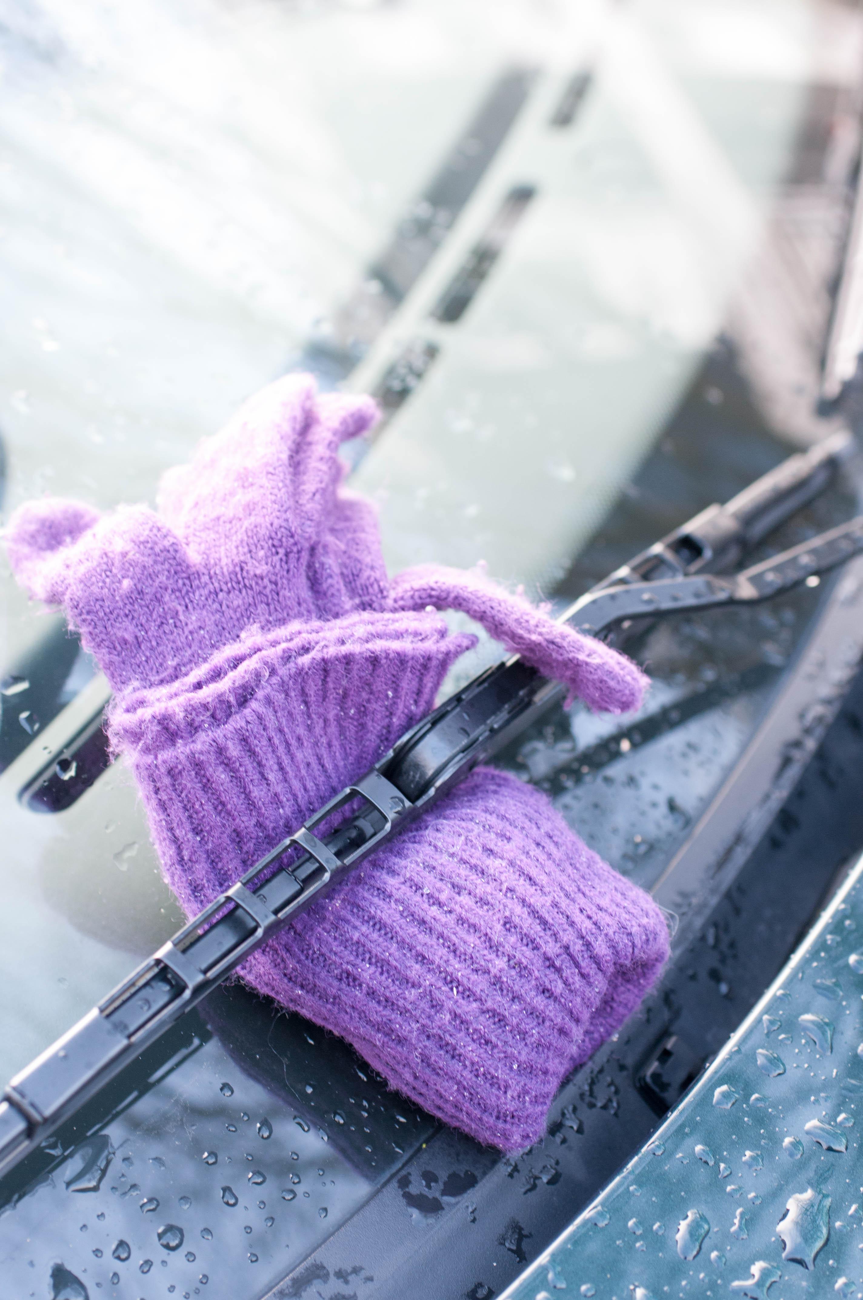 Handschuh auf Windschutzscheibe