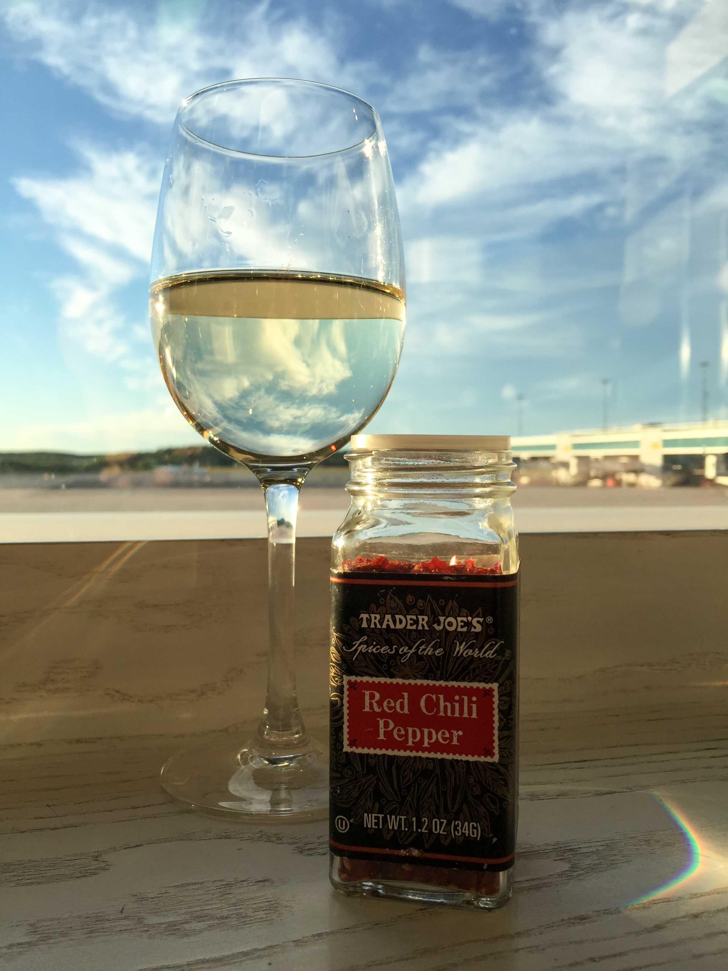 Weinglas am Flugenhafen